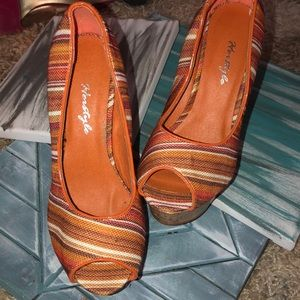 Herstyle Striped Wedges Size 7